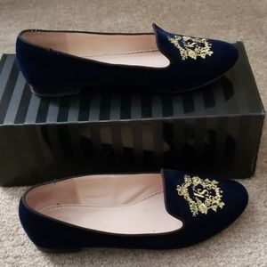 Victoria's Secret Embroidered Navy Loafers